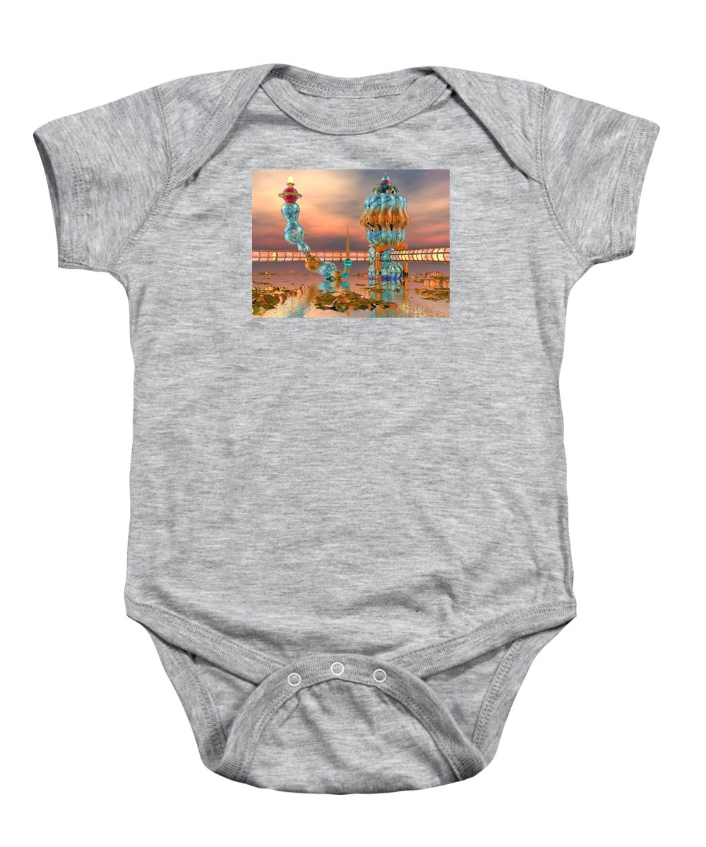 Landscape Baby Onesie featuring the digital art On Vacation by Dave Martsolf