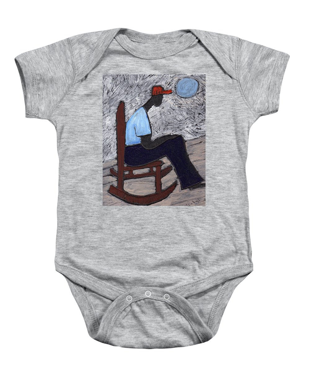 Rocking Chair Baby Onesie featuring the painting Once In A Blue Moon by Wayne Potrafka