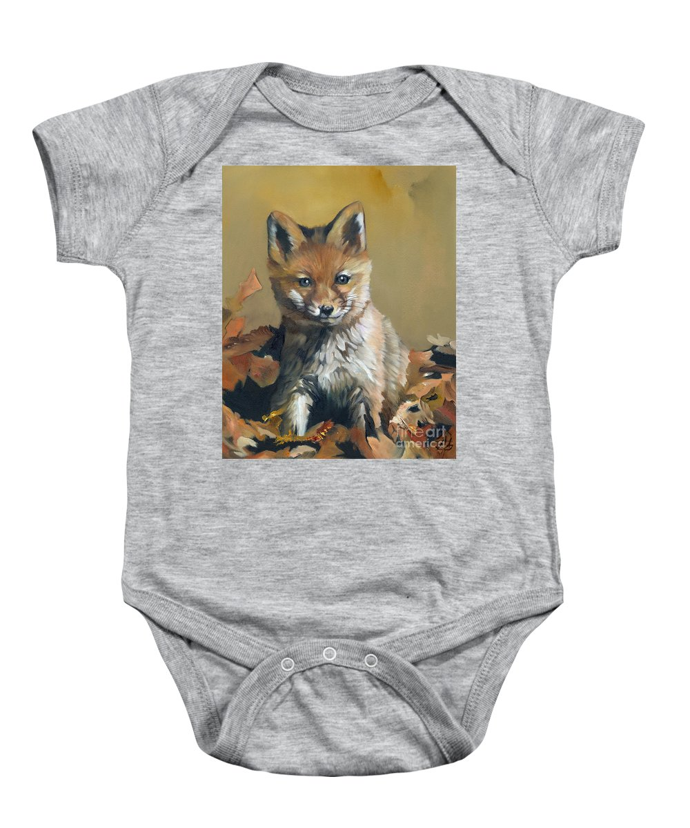 Fox Baby Onesie featuring the painting Once Upon A Time by J W Baker