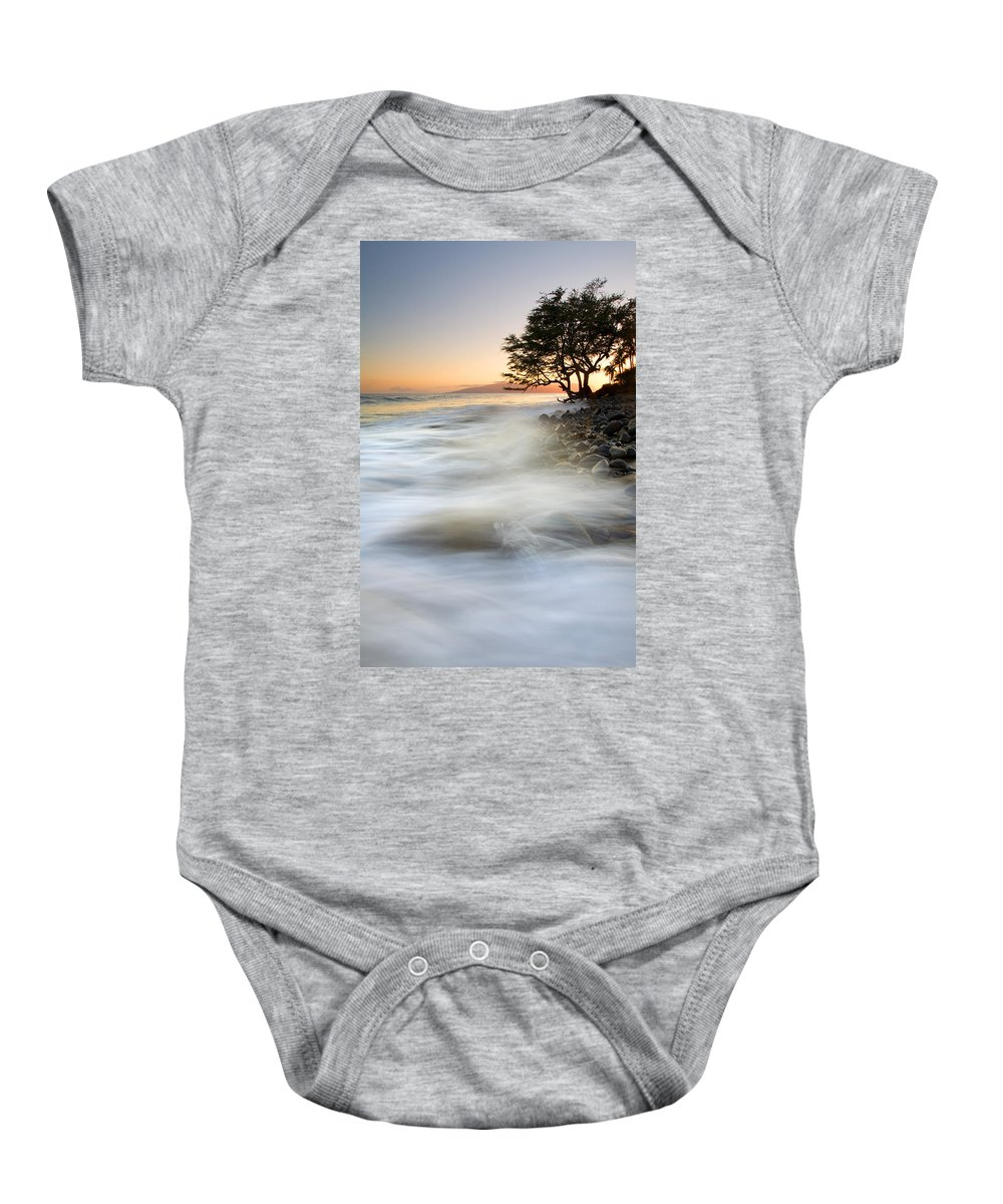 Sunset Baby Onesie featuring the photograph One Against The Tides by Mike Dawson