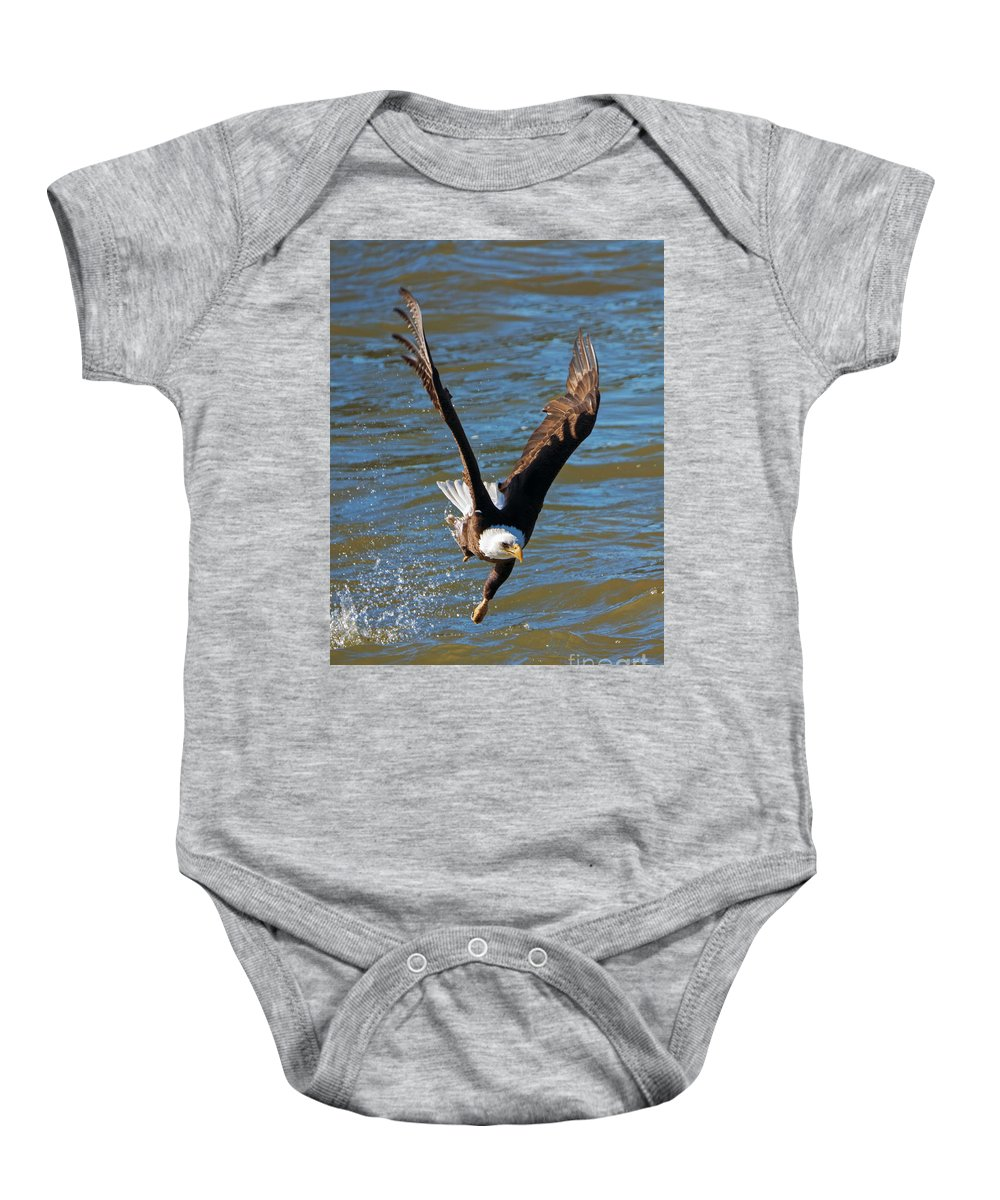American Bald Eagle Baby Onesie featuring the photograph One Hand Grab by Mike Dawson