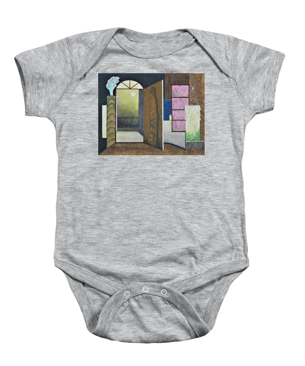 Romantic Baby Onesie featuring the painting One Moonlit Night- J-16 by Raju Bose