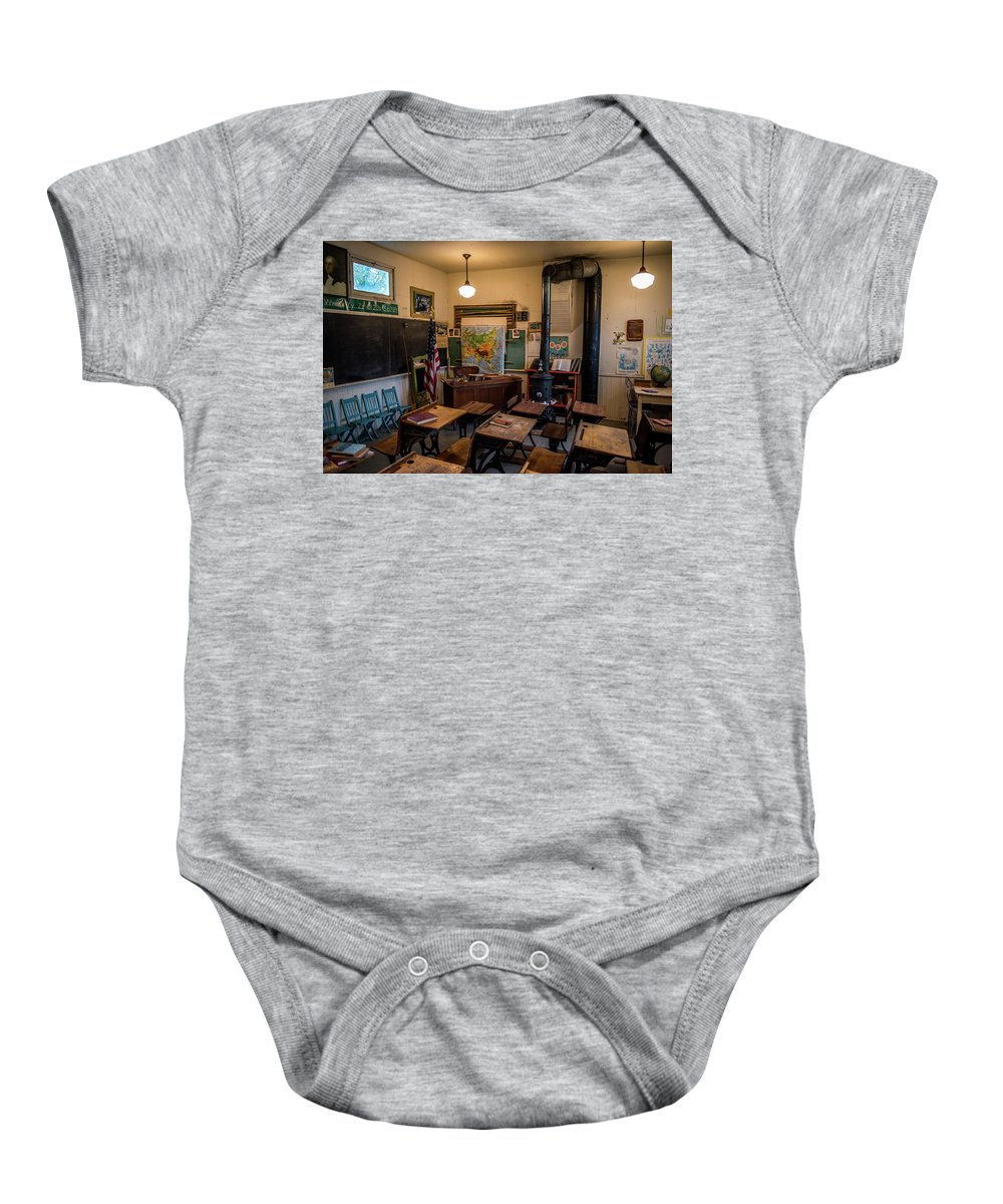 Vintage School Desk Baby Onesie featuring the photograph one Room School House by Paul Freidlund