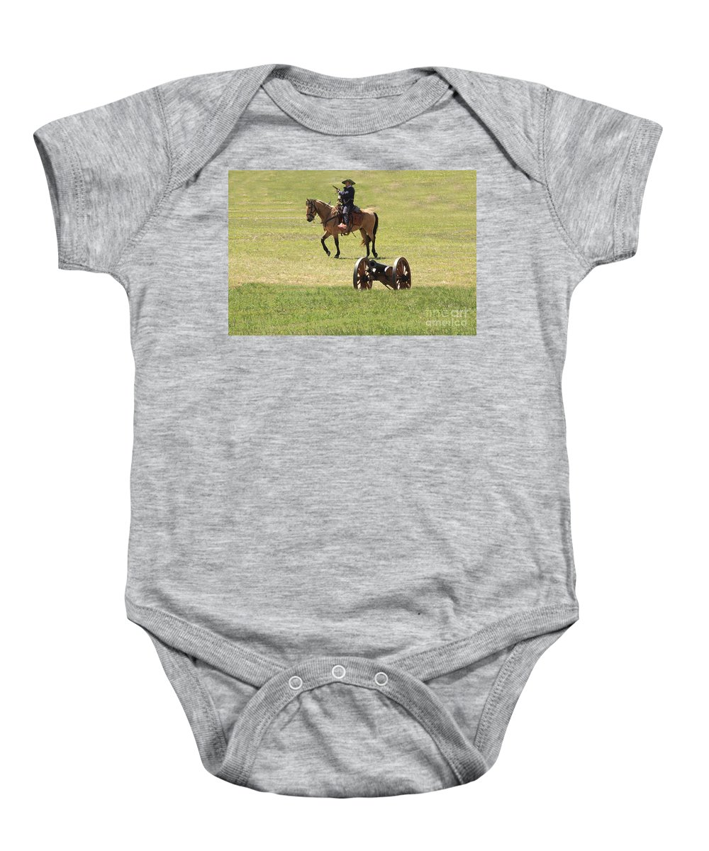Re-enactment Baby Onesie featuring the photograph One Way Or Another by Kim Henderson