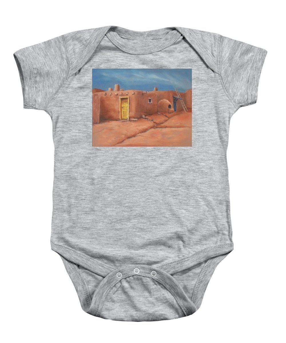 Taos Baby Onesie featuring the painting One Yellow Door by Jerry McElroy
