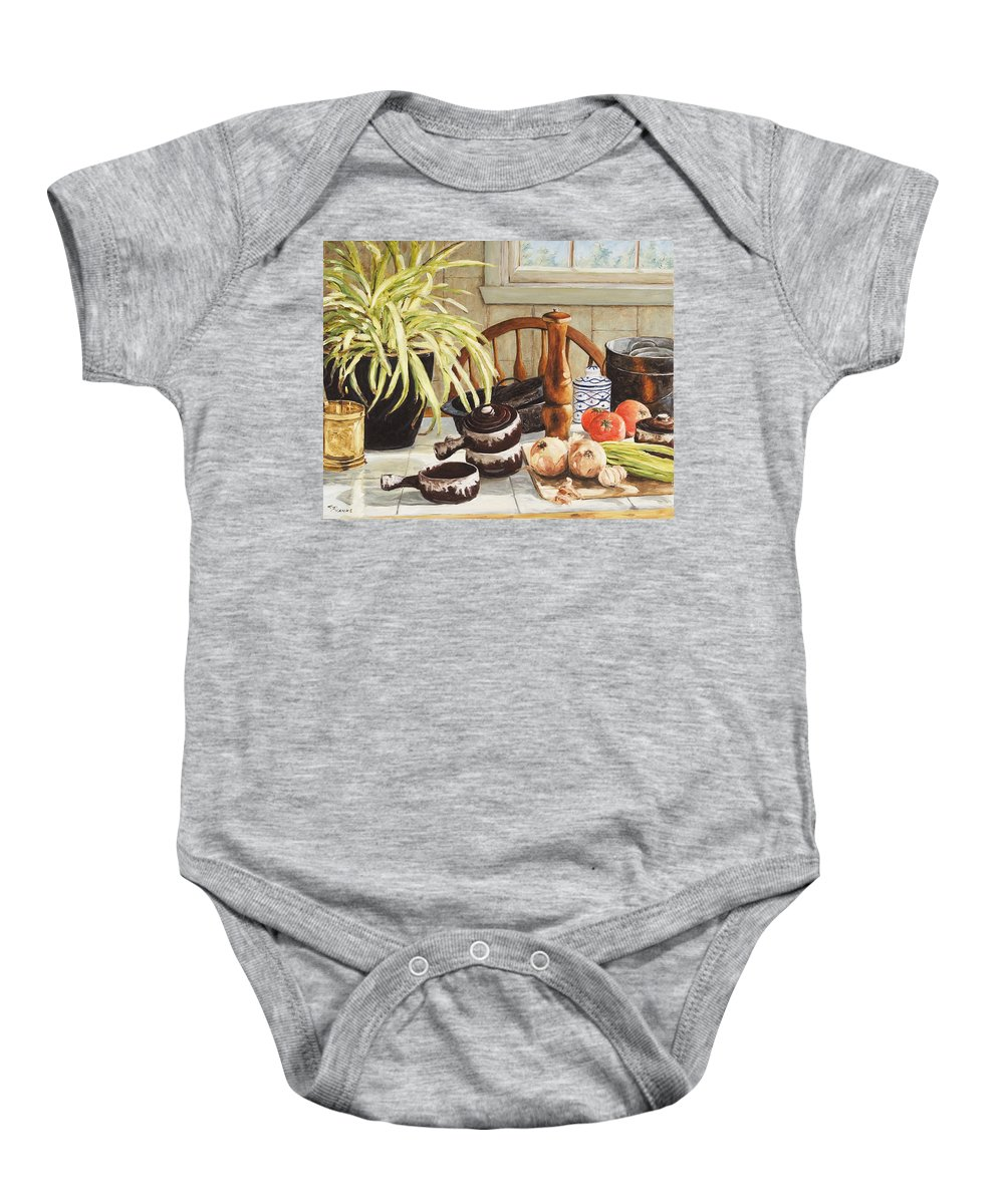Onion Baby Onesie featuring the painting Onion Soup Tonight by Richard T Pranke