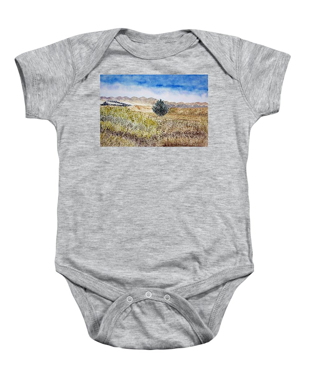 Desert Art Baby Onesie featuring the painting Onyo National Forest by Larry Wright
