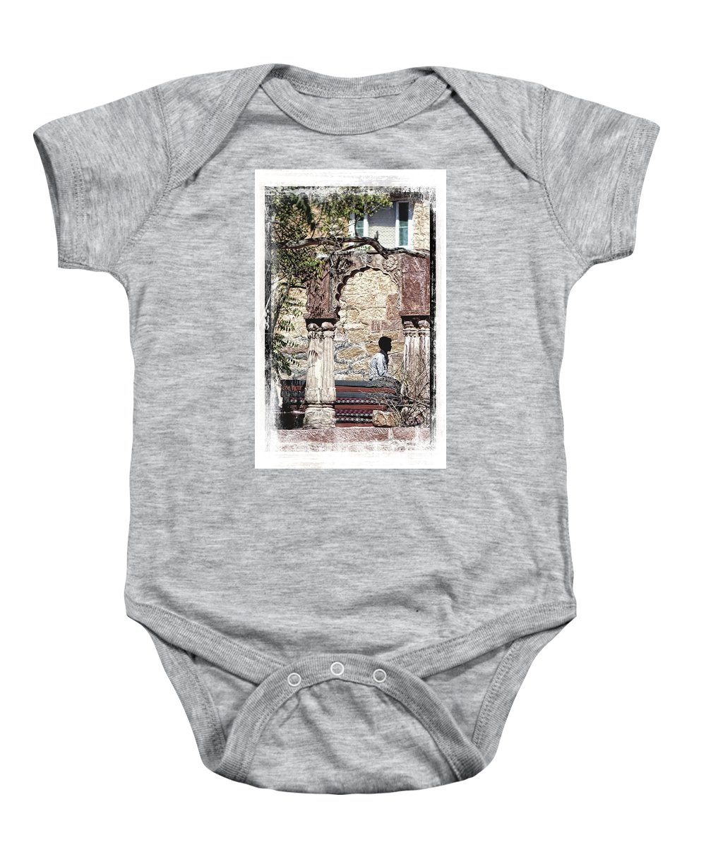 Travel Photography Baby Onesie featuring the photograph Open Air Bed Among The Arches India Rajasthan 1c by Sue Jacobi