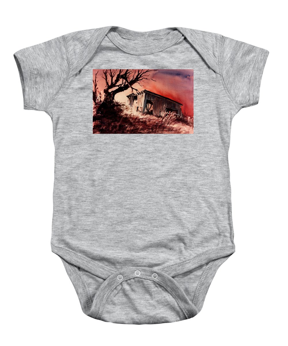 Landscape Baby Onesie featuring the painting Open House by Rachel Christine Nowicki