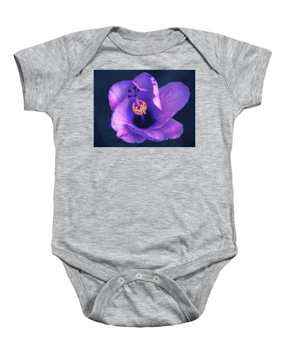 Opening Baby Onesie featuring the photograph Opening Purple Hibiscus by Michael Frizzell