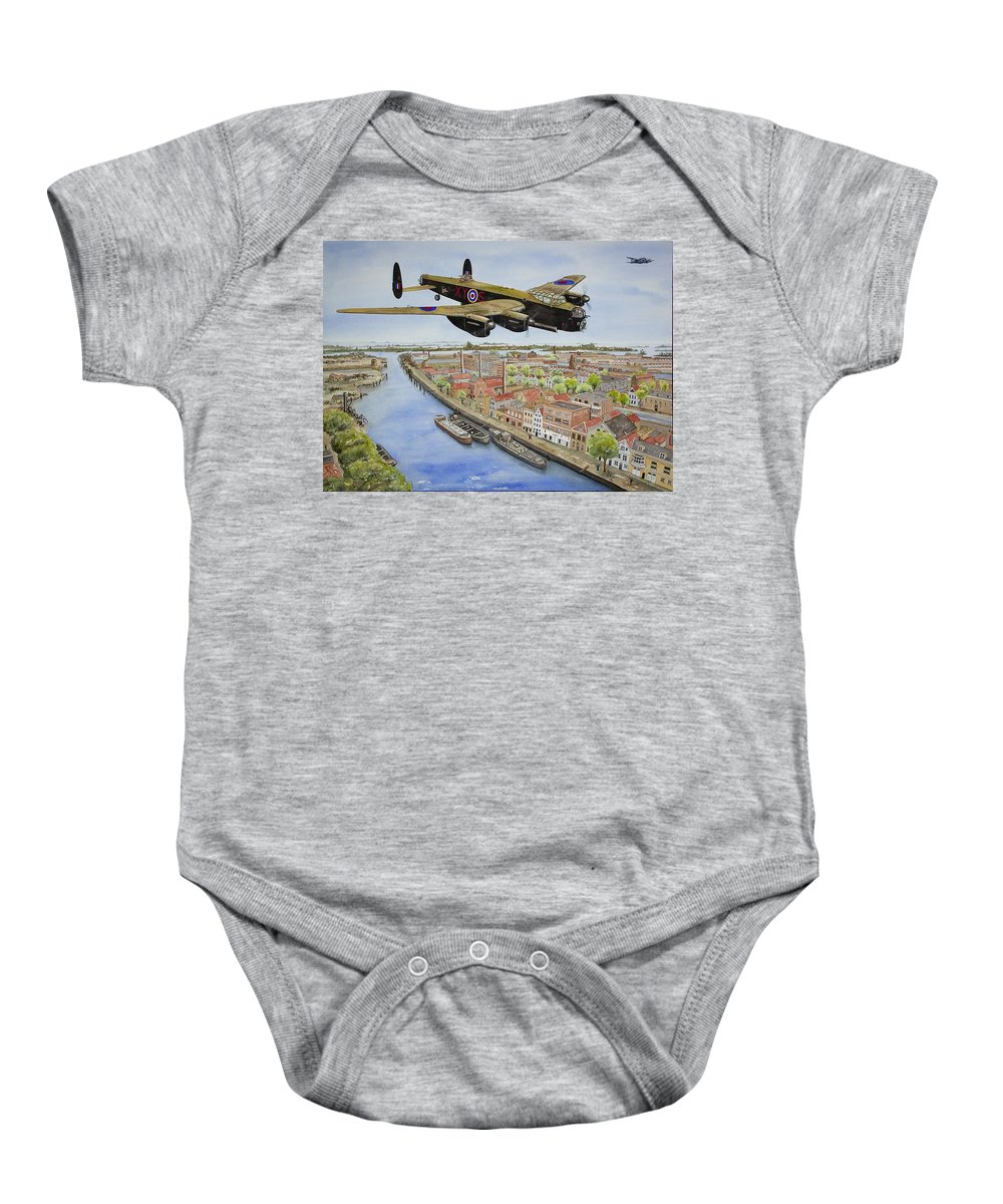 Lancaster Bomber Baby Onesie featuring the painting Operation Manna II by Gale Cochran-Smith