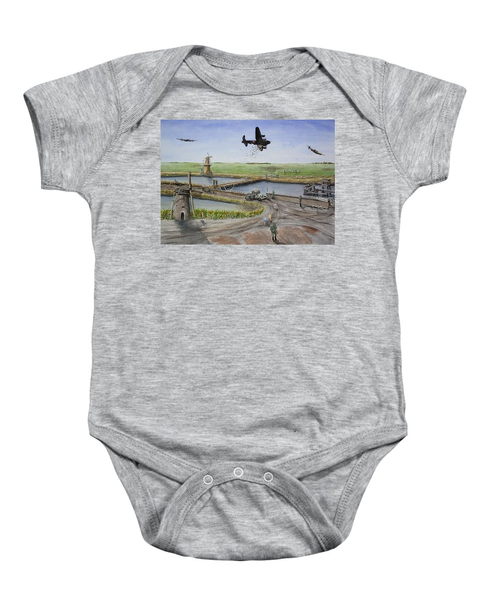 Lancaster Bomber Baby Onesie featuring the painting Operation Manna IIi by Gale Cochran-Smith