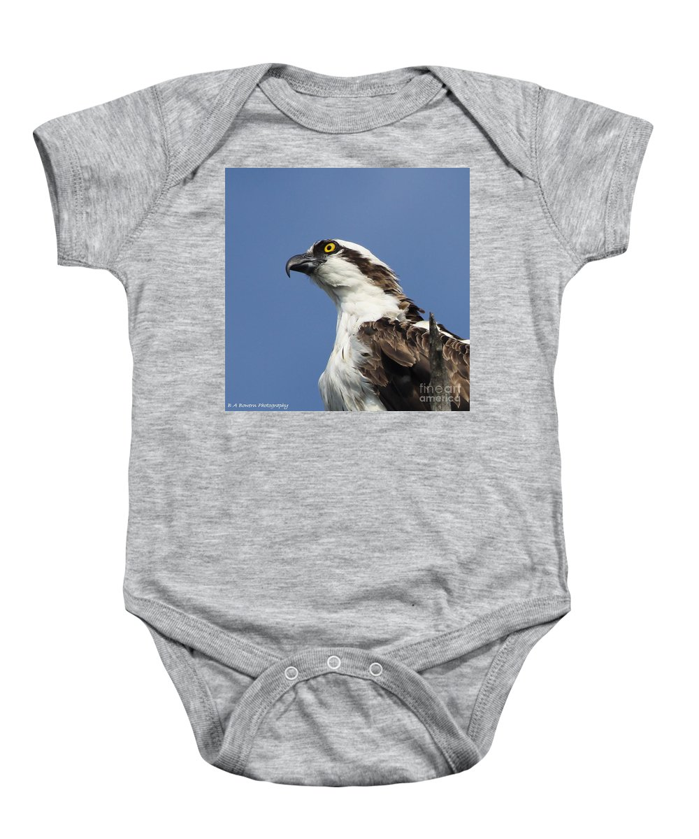 Osprey Baby Onesie featuring the photograph Opsrey Portrait by Barbara Bowen