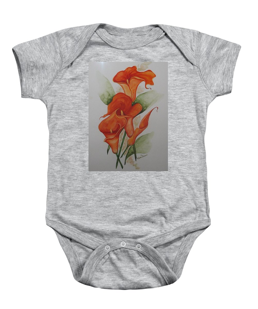 Floral Orange Lily Baby Onesie featuring the painting Orange Callas by Karin Dawn Kelshall- Best