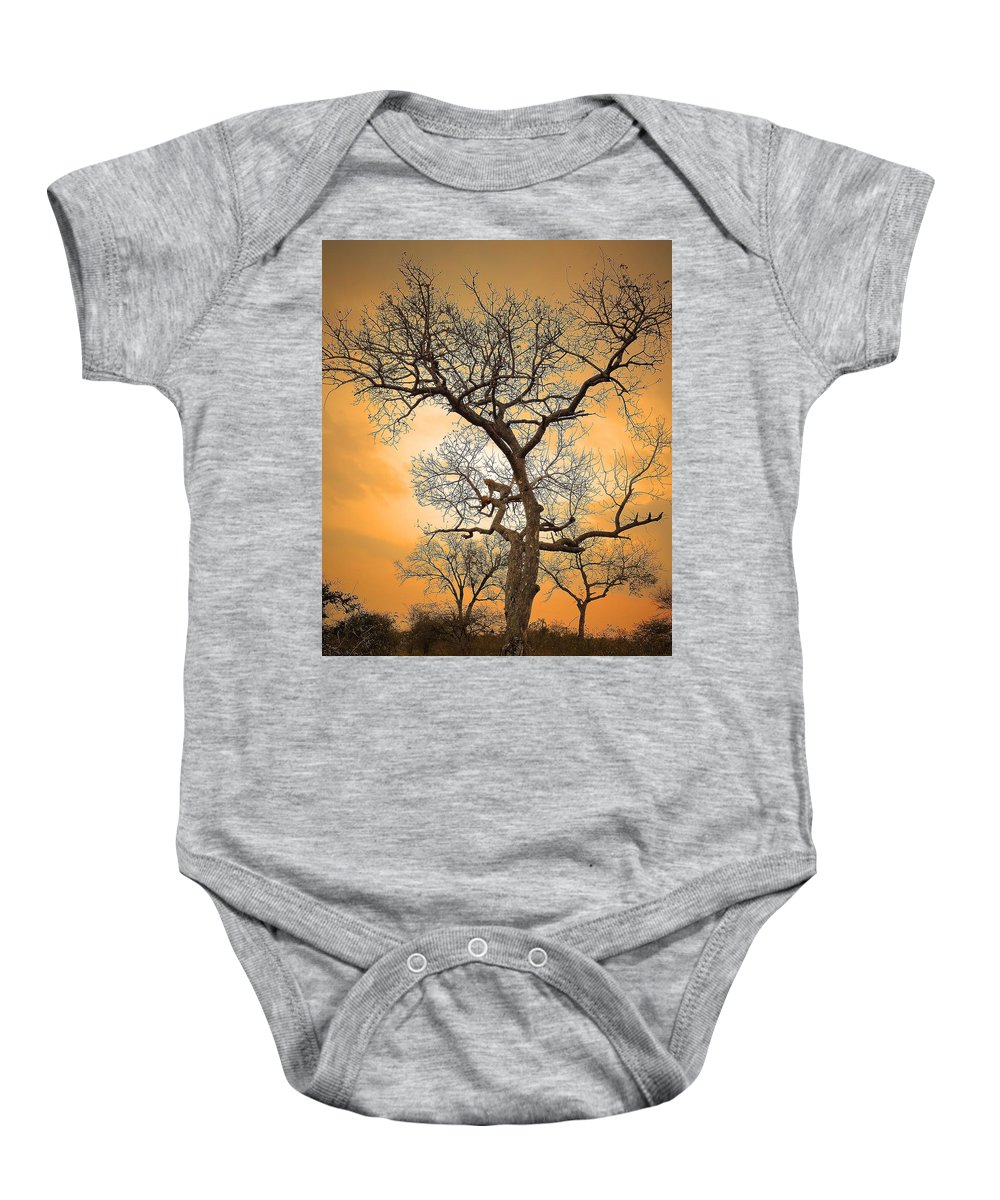Leopard Baby Onesie featuring the photograph Orange Leopard by Lisa Byrne