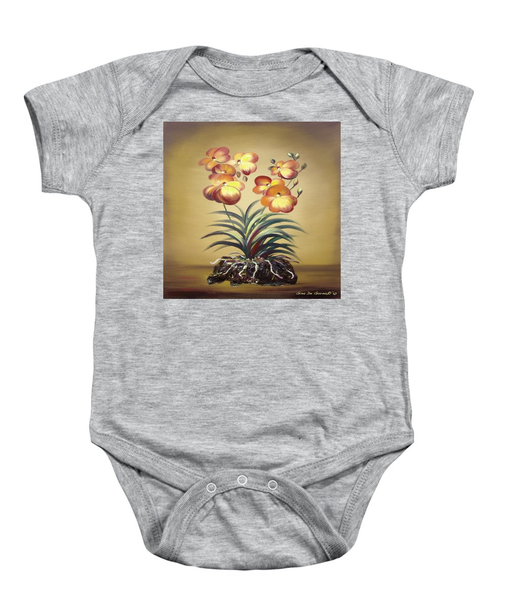 Orange Baby Onesie featuring the painting Orange Orchid Flowers by Gina De Gorna