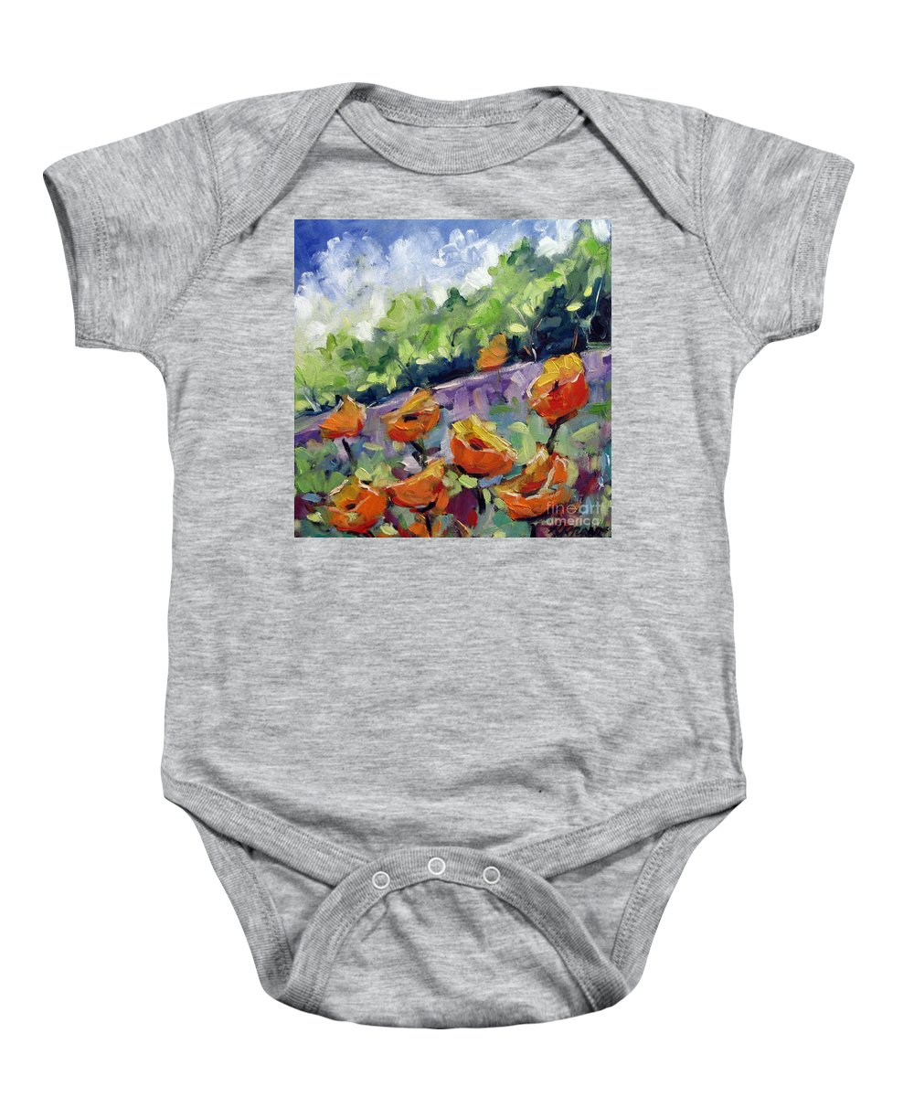 Art Baby Onesie featuring the painting Orange Poppies by Richard T Pranke