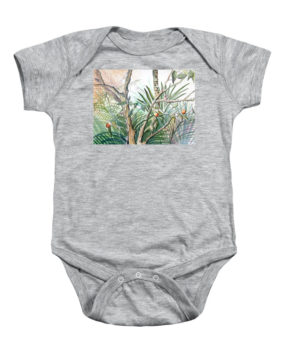Fruit Baby Onesie featuring the painting Orange Tree by Mindy Newman