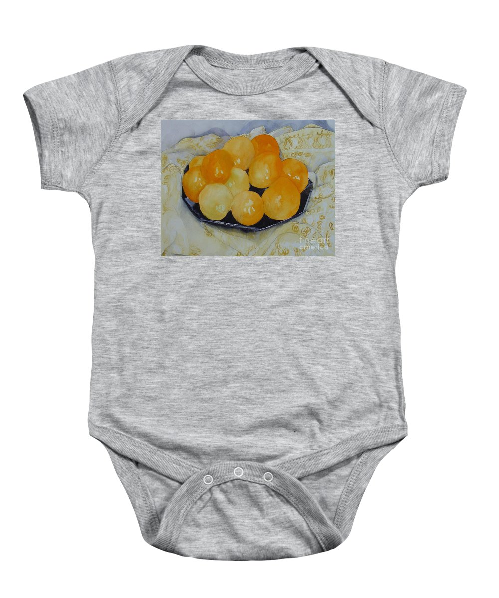 Still Life Watercolor Original Leilaatkinson Oranges Baby Onesie featuring the painting Oranges by Leila Atkinson