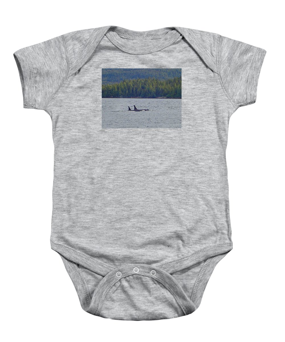 Sea Baby Onesie featuring the photograph Orca Whales by Mike and Sharon Mathews