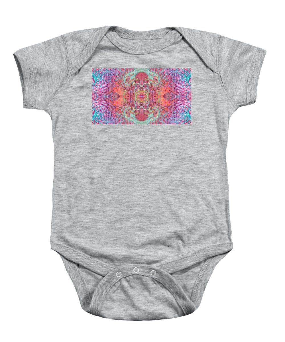 Abstract Baby Onesie featuring the digital art Orchard Interface by Ryan Ross