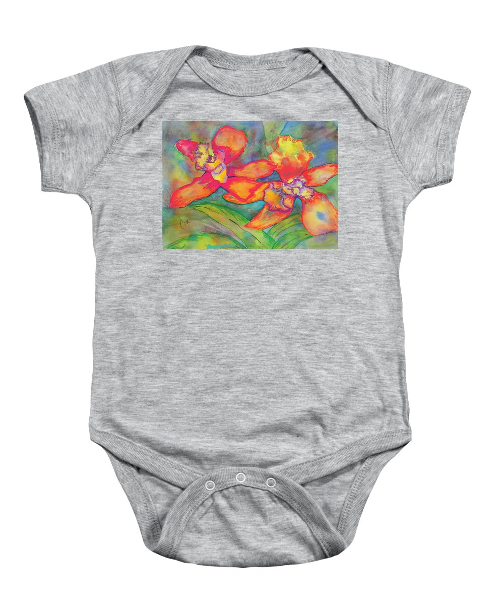 Flowers Baby Onesie featuring the painting Orchids In Paradise by Cori Solomon