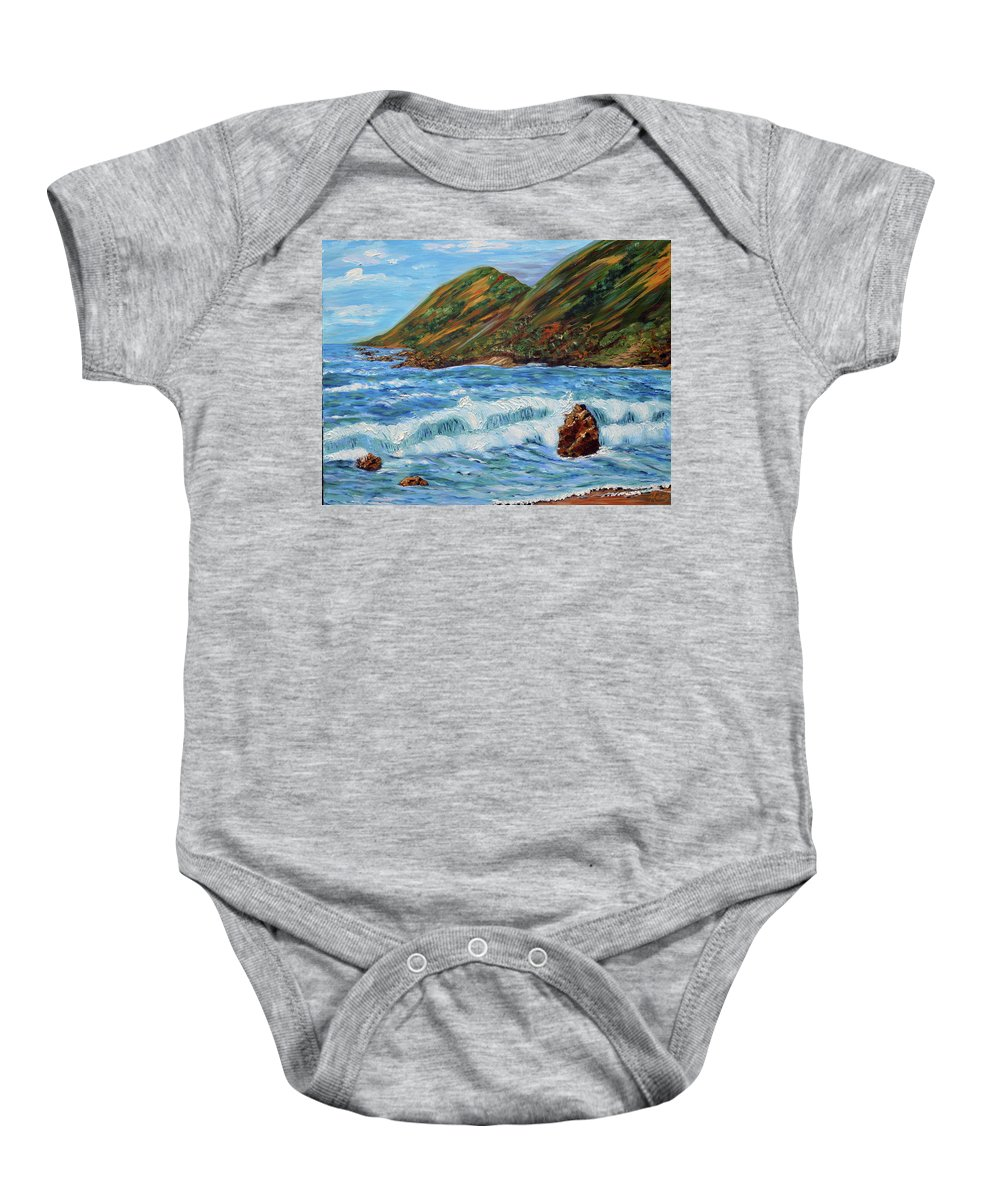 Oil Painting Baby Onesie featuring the painting Oregon Coast- Rocky Shore by Kathy Symonds