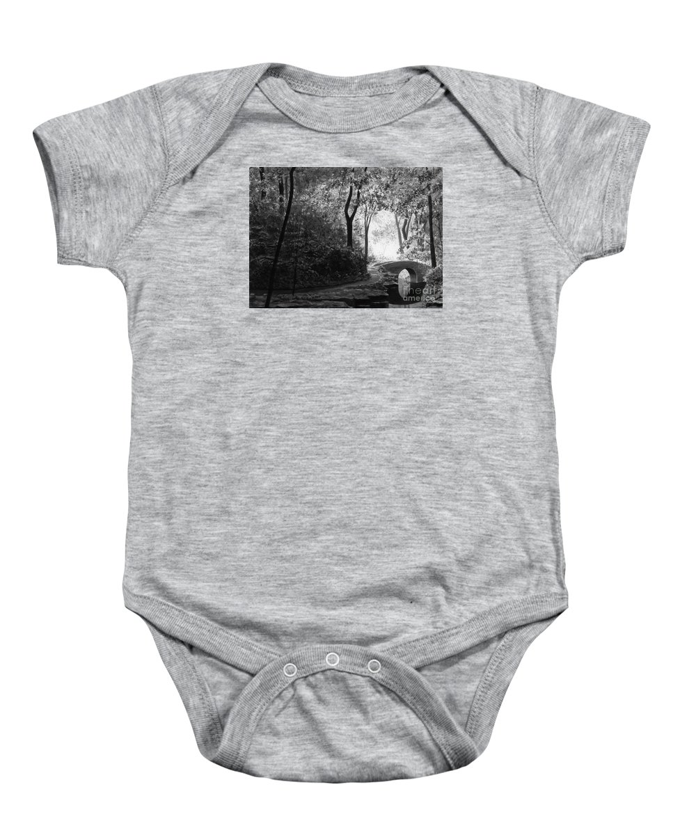 Black And White Baby Onesie featuring the painting Oriental Garden by Lynn Quinn
