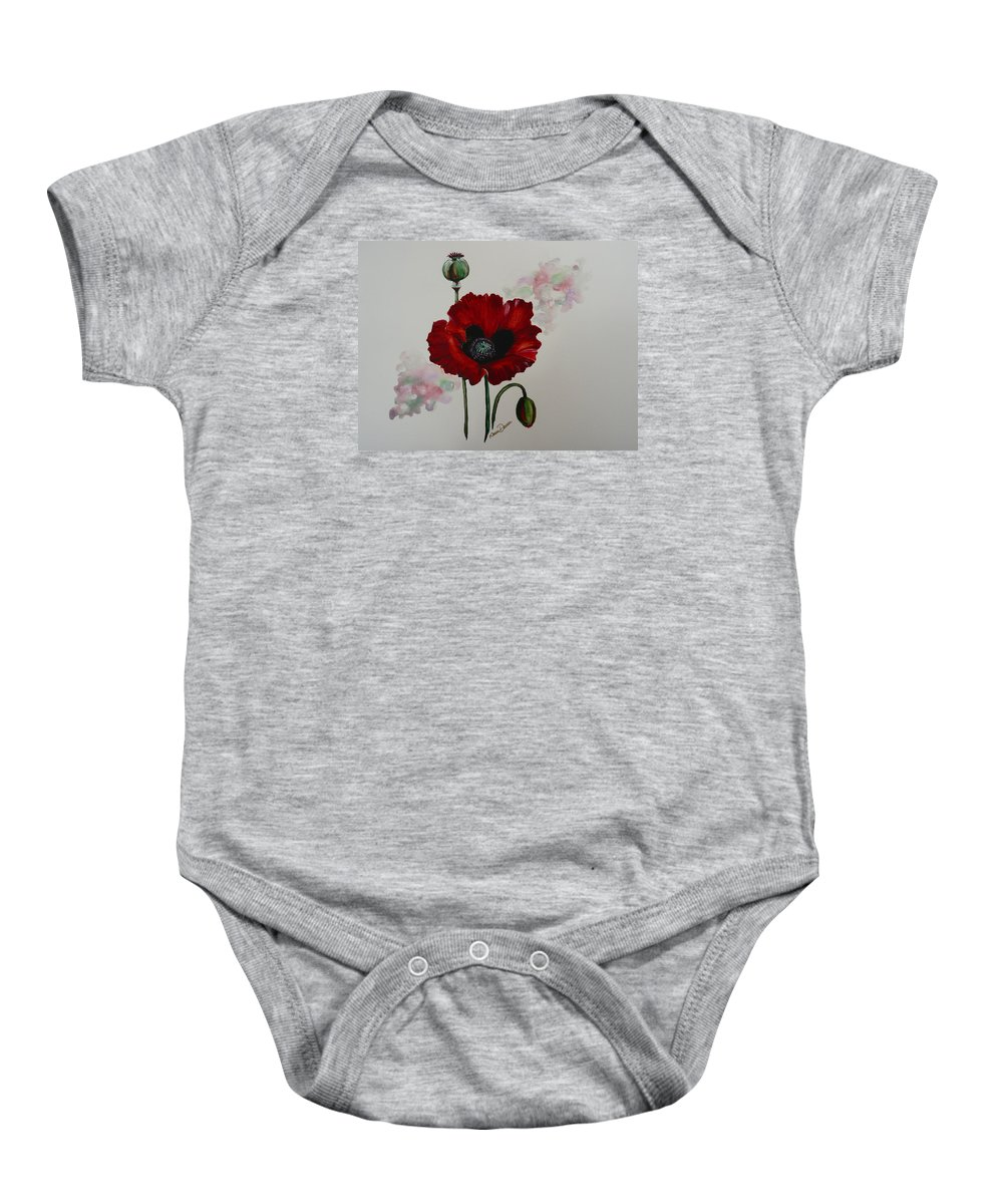 Floral Poppy Red Flower Baby Onesie featuring the painting Oriental Poppy by Karin Dawn Kelshall- Best