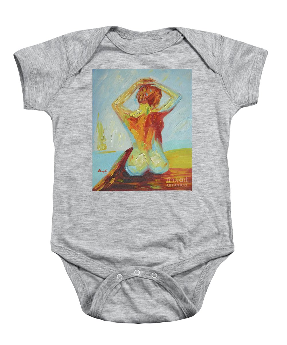 Art Baby Onesie featuring the painting Original Abstract Oil Painting Female Nude Girl On Canvas#16-2-5-06 by Hongtao   Huang