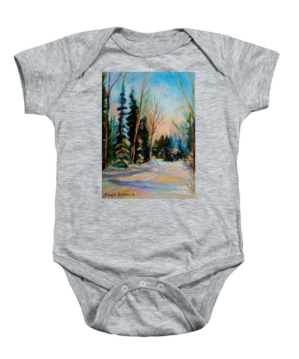Ormstown Quebec Winter Road Baby Onesie featuring the painting Ormstown Quebec Winter Road by Carole Spandau