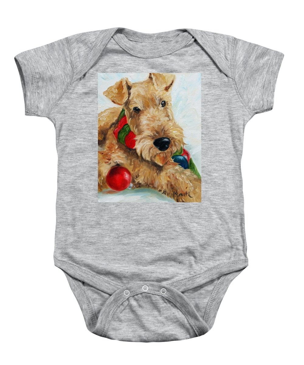 Art Baby Onesie featuring the painting Ornaments by Mary Sparrow