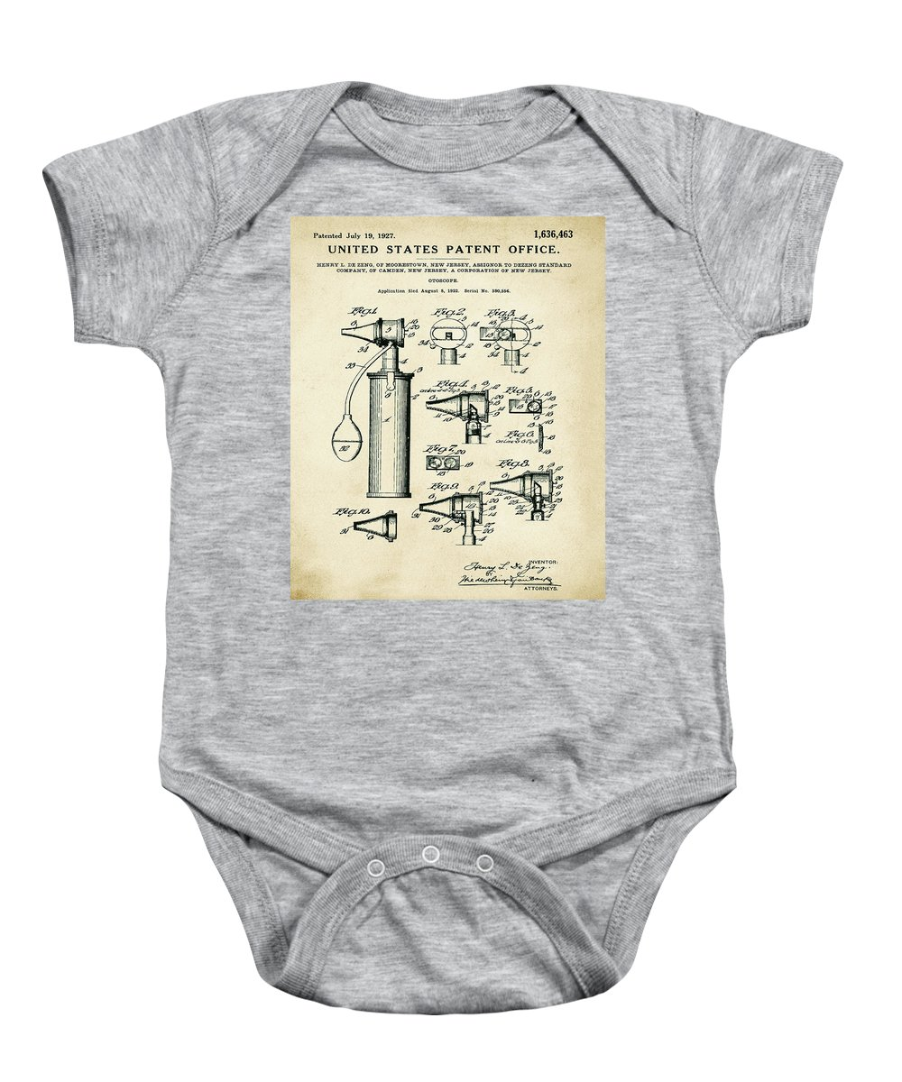 Otoscope Baby Onesie featuring the digital art Otoscope Patent 1927 Old Style by Bill Cannon