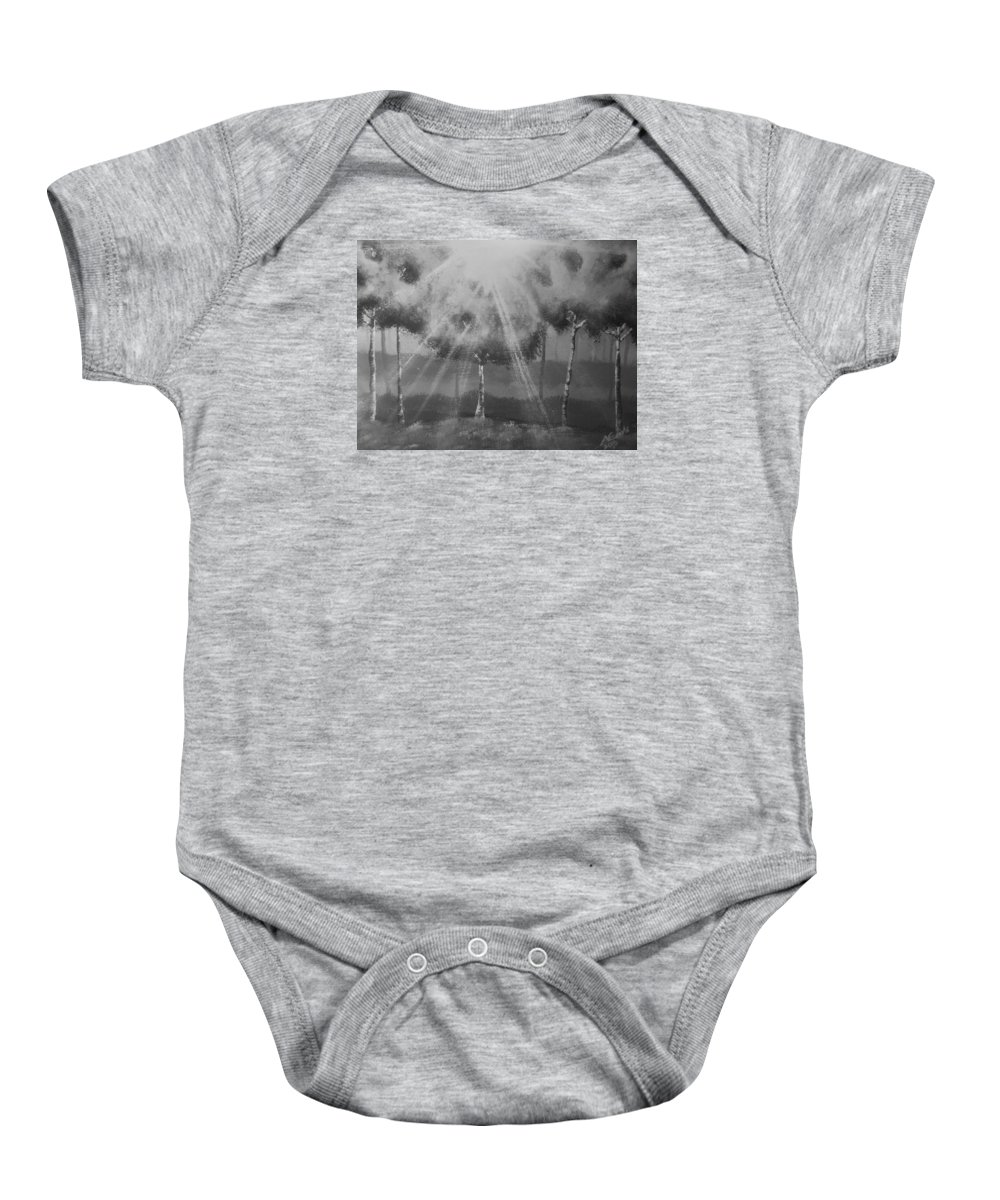 Tree Baby Onesie featuring the photograph Outburst B And W by Aaron Crooks