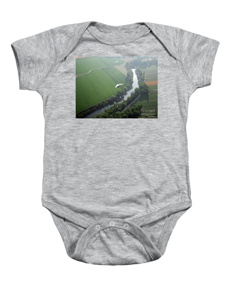 Balloons Baby Onesie featuring the photograph Over The River by Ilaria Andreucci