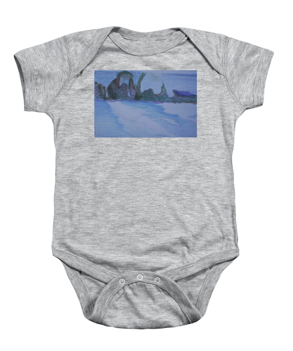 Abstract Painting Baby Onesie featuring the painting Overlap by Suzanne Udell Levinger