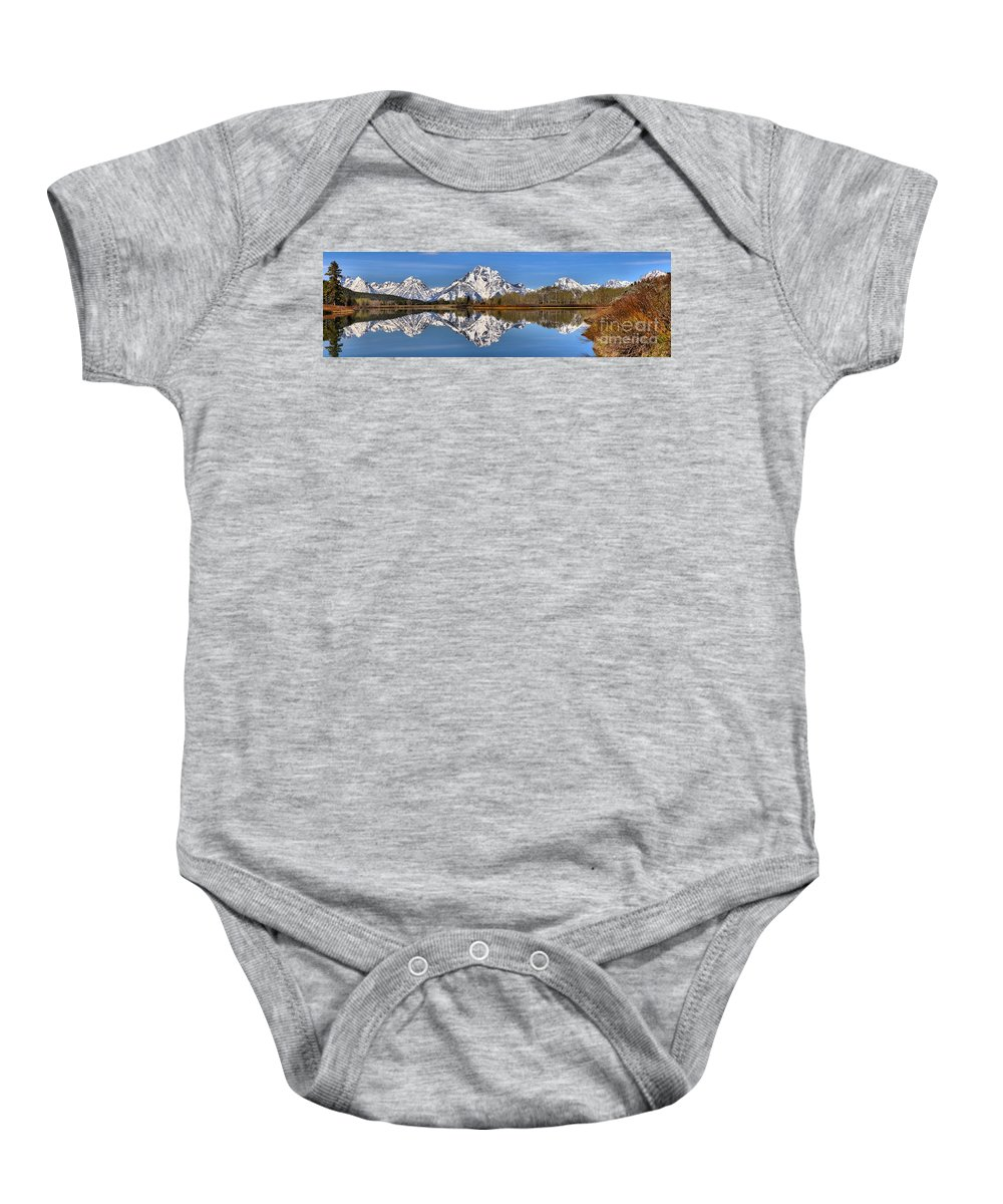 Oxbow Baby Onesie featuring the photograph Oxbow Snake River Reflections by Adam Jewell