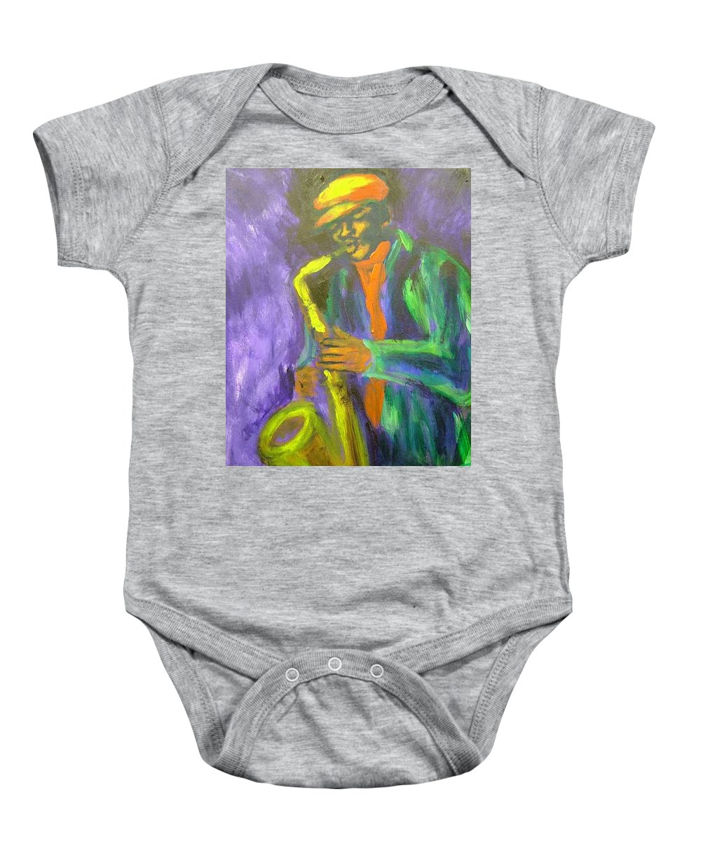 Painting Baby Onesie featuring the painting The M by Jan Gilmore