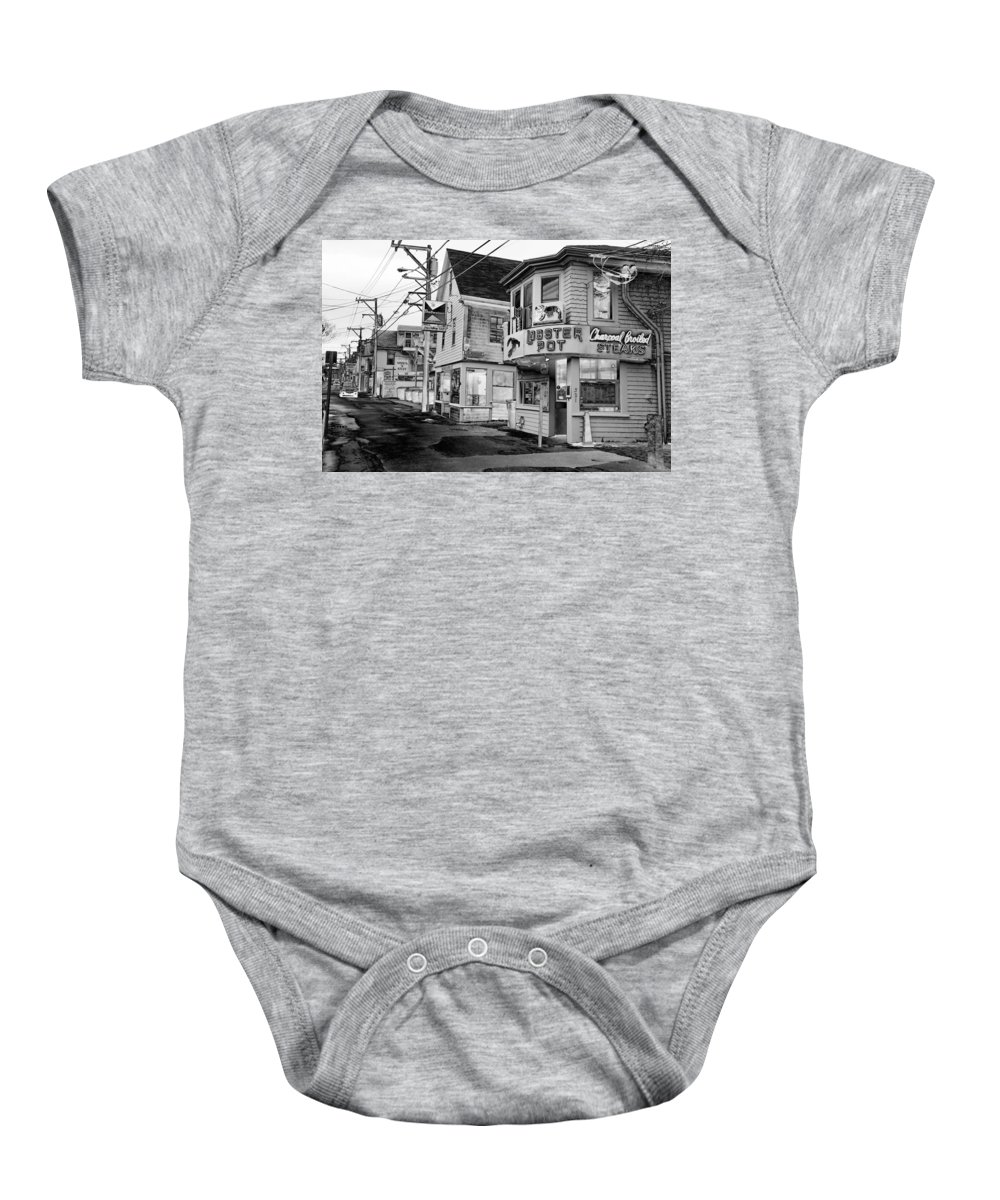 P-town Baby Onesie featuring the photograph P-town Lobster Pot by Nicole Dunkelberger