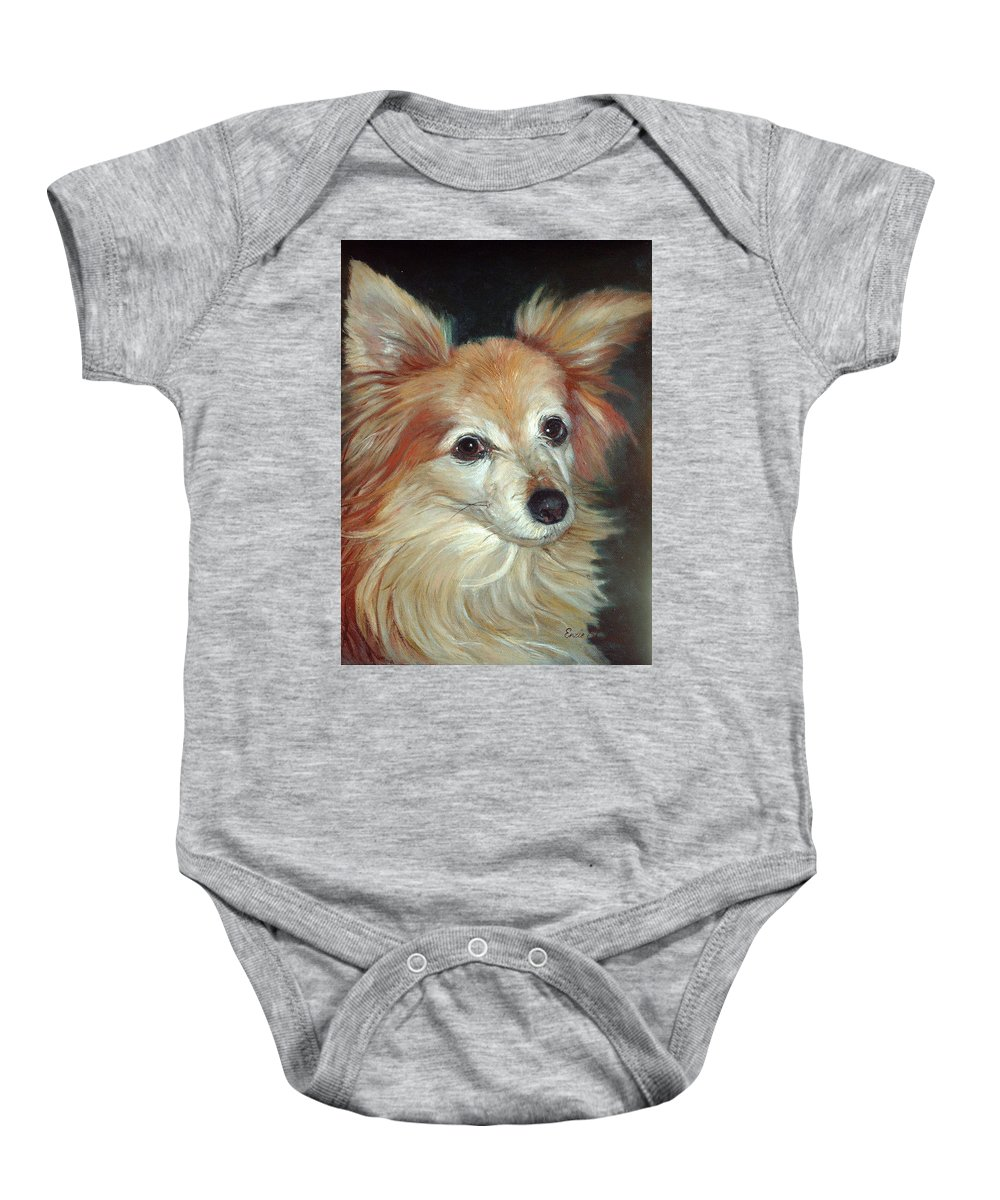 Pet Portraits Baby Onesie featuring the painting Paco The Papillion by Portraits By NC