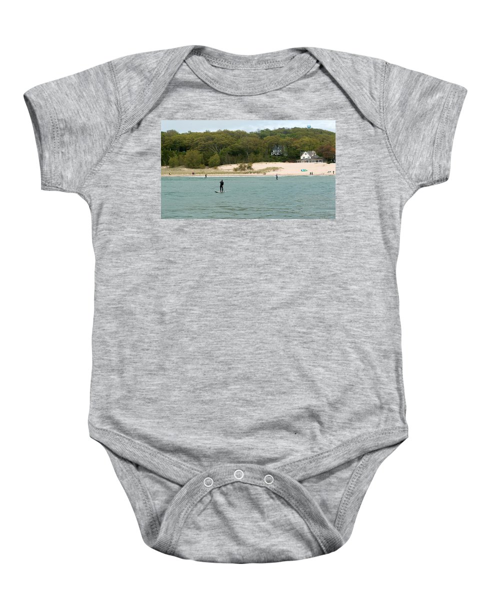 Michigan Baby Onesie featuring the photograph Paddle Board by Linda Kerkau