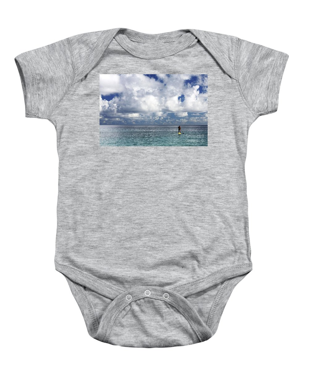 Adrenaline Baby Onesie featuring the photograph Paddling In The Open by Vince Cavataio - Printscapes