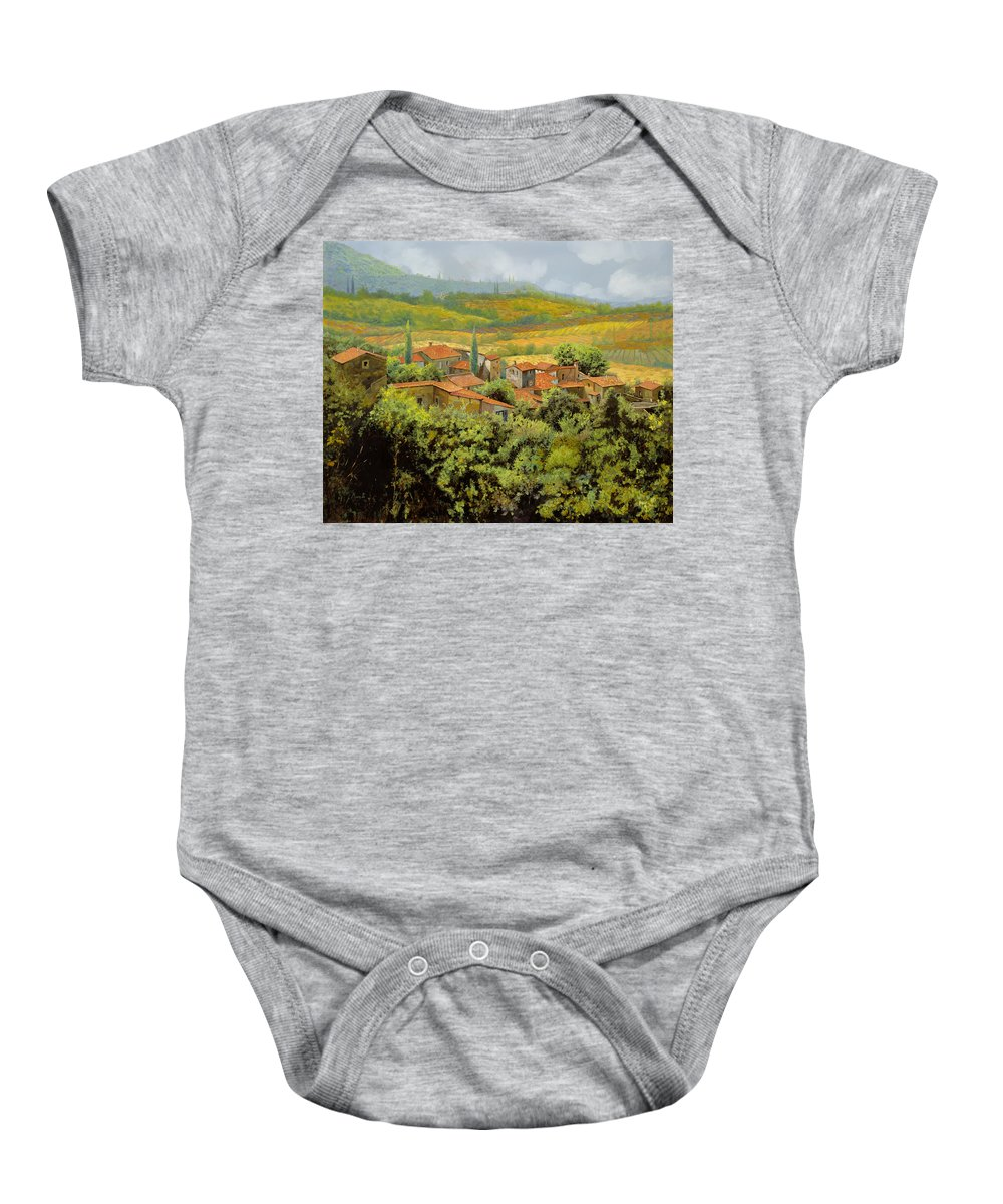 Tuscany Baby Onesie featuring the painting Paesaggio Toscano by Guido Borelli