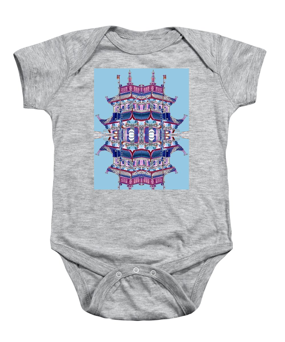 China Town Baby Onesie featuring the photograph Pagoda Tower Becomes Chinese Lantern 2 Chinatown Chicago by Marianne Dow