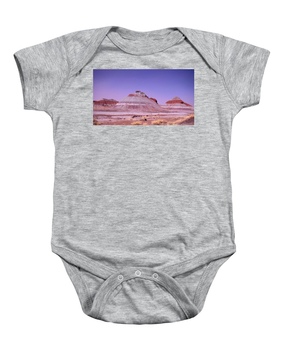 Painted Desert Baby Onesie featuring the photograph Painted Desert Tepees by Merja Waters