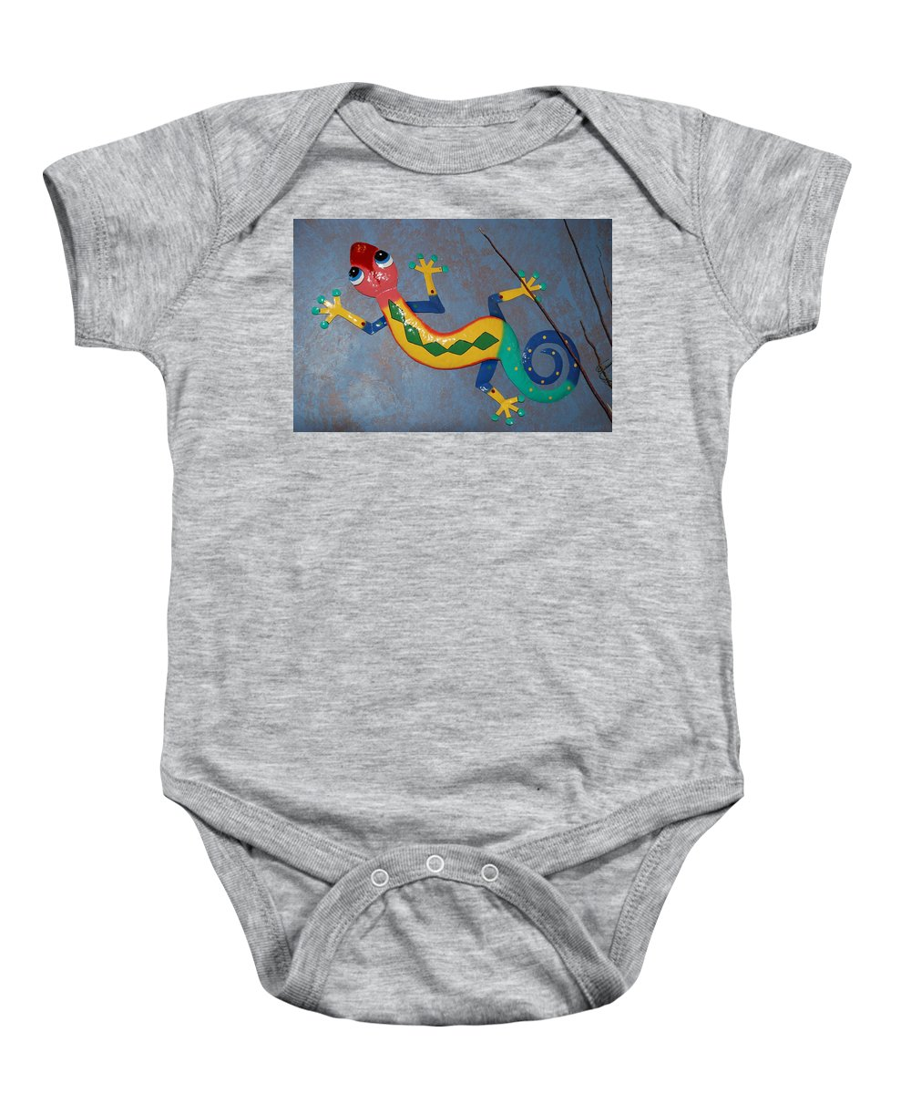 Pop Art Baby Onesie featuring the photograph Painted Lizard by Rob Hans