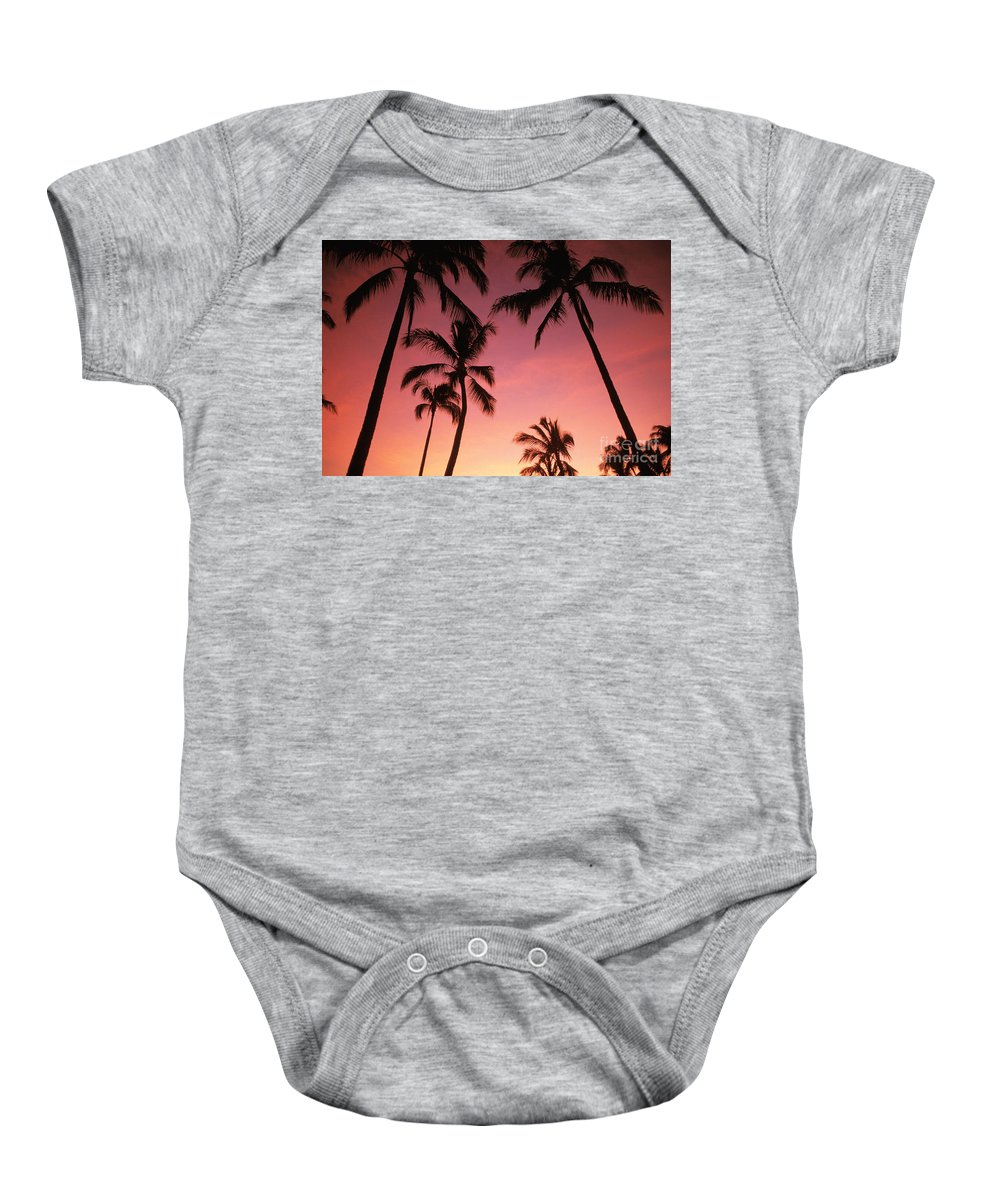 Afternoon Baby Onesie featuring the photograph Palm Silhouette by Dana Edmunds - Printscapes