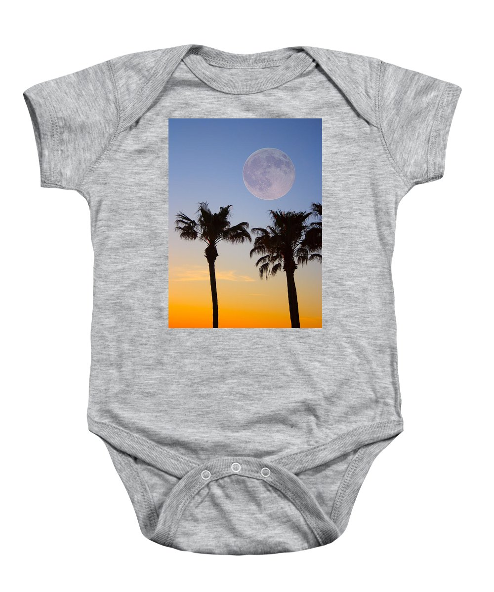 Palm Baby Onesie featuring the photograph Palm Tree Full Moon Sunset by James BO Insogna