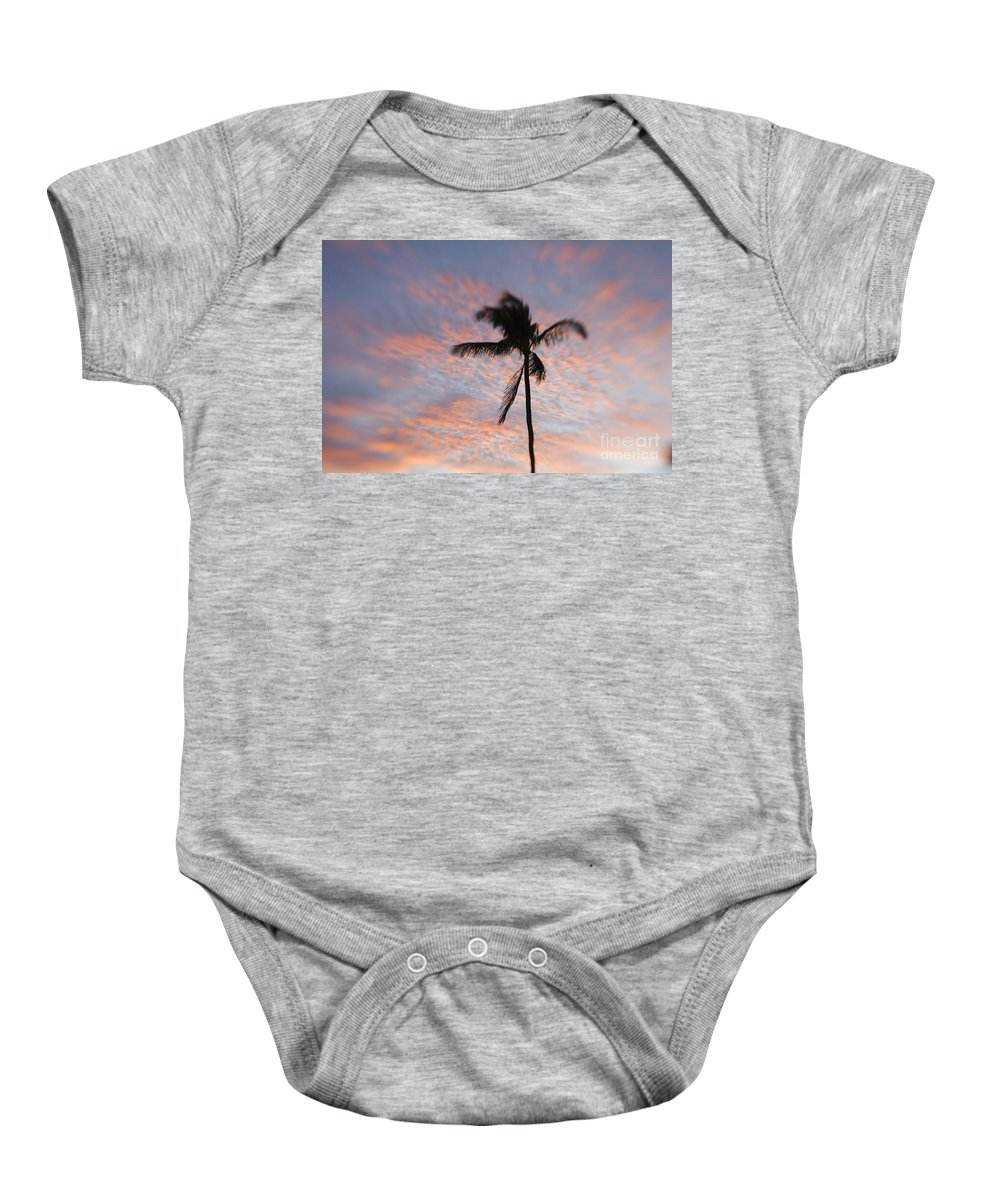 Blue Baby Onesie featuring the photograph Palms And Pink Clouds by Ron Dahlquist - Printscapes