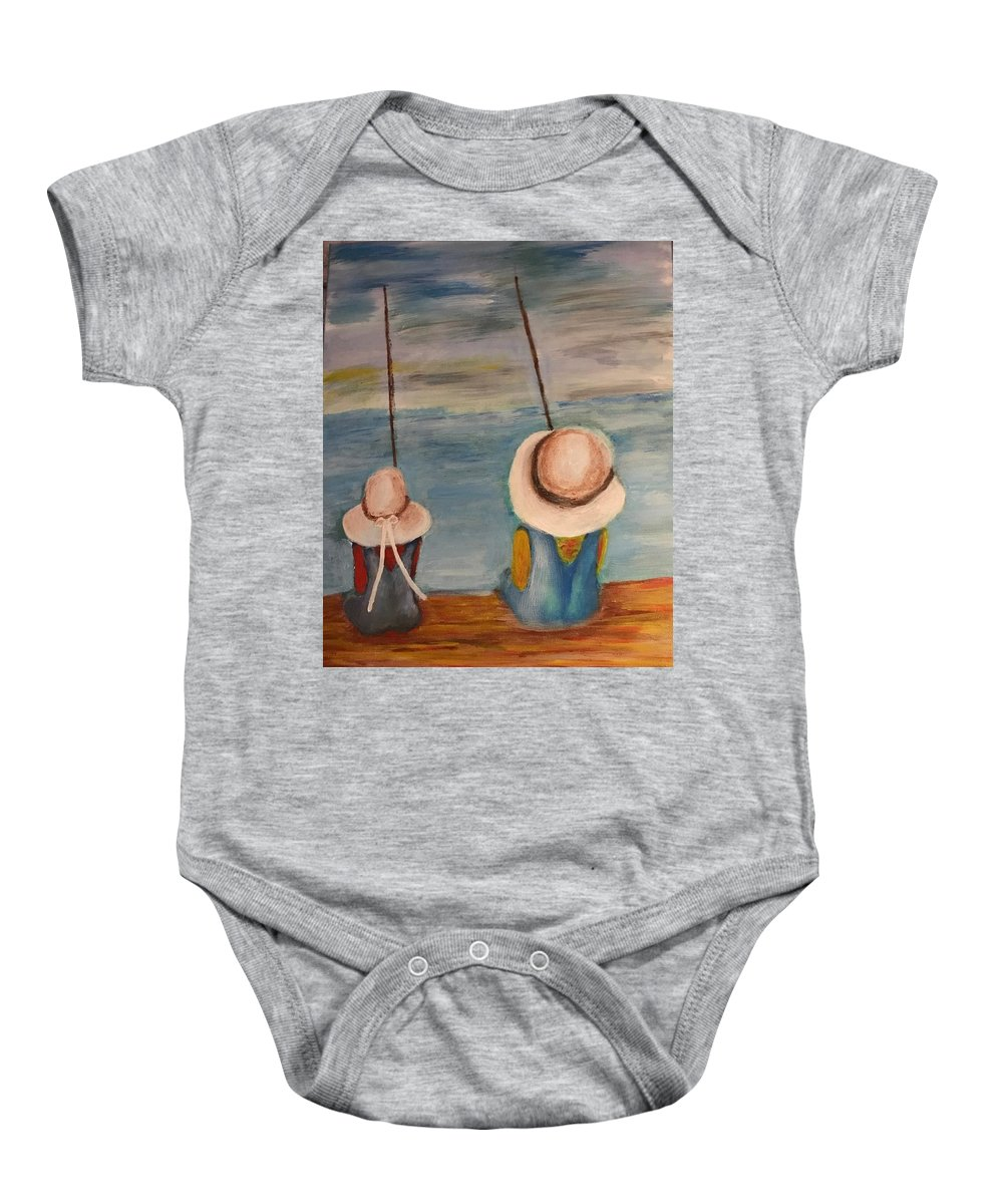 Baby Onesie featuring the painting Pals by Chrissie Grammer